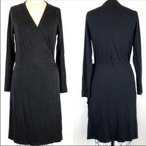 Boden Long Sleeve Black Wrap Dress